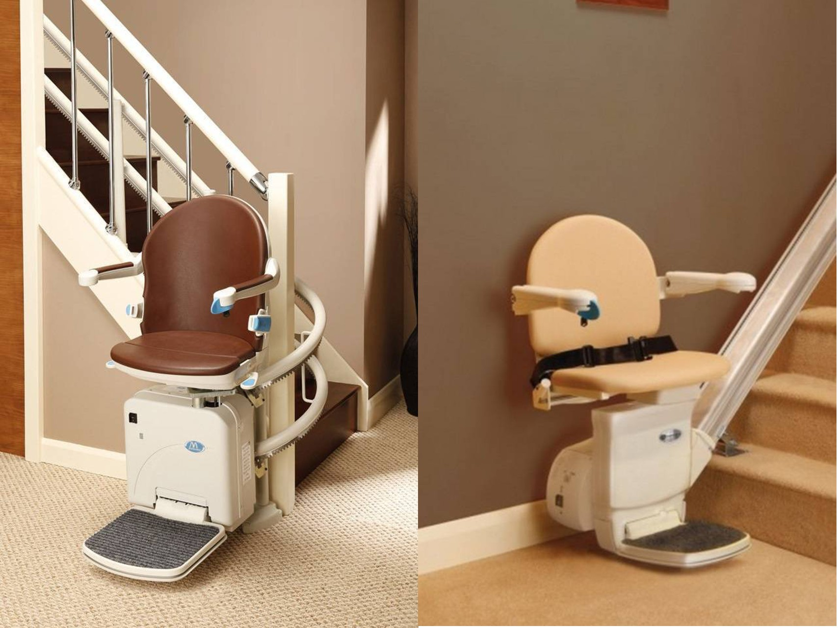 immagine di 2 modelli di montascale per disabili e anziani
